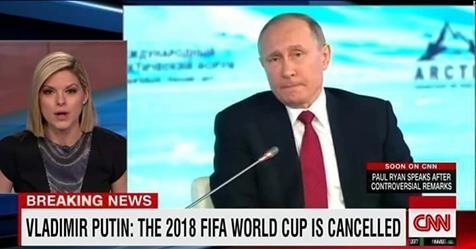 Una imagen manipulada del presidente ruso, Vladimir Putin, declarando a la CNN su intención de anular la celebración de la próxima Copa del Mundo.