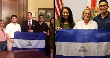 Golpistas vendepatria exaltados como patriotas por medios de comunicación gringos y europeos. En la foto, con políticos norteamericanos a quienes pidieron injerencia directa en contra de Nicaragua.